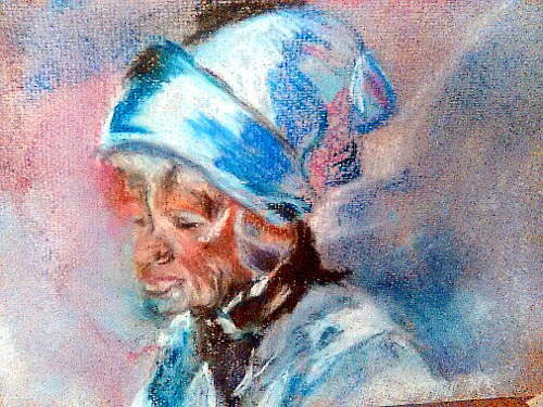 A pastel drawing of an elderly figure
