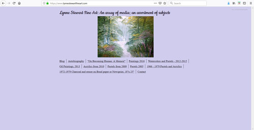 The front page of Lynne Stewart's art portfolio website
