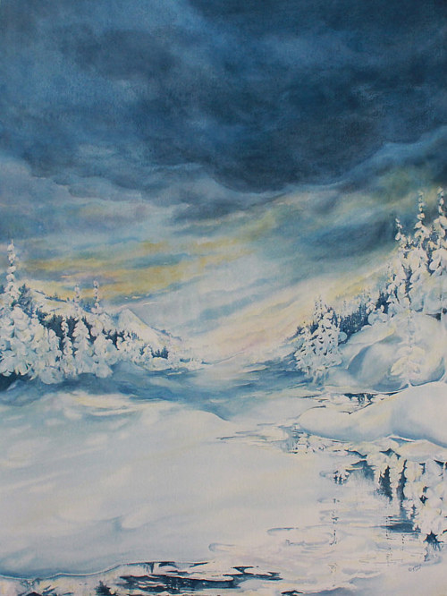 A watercolour painting of a winter scene