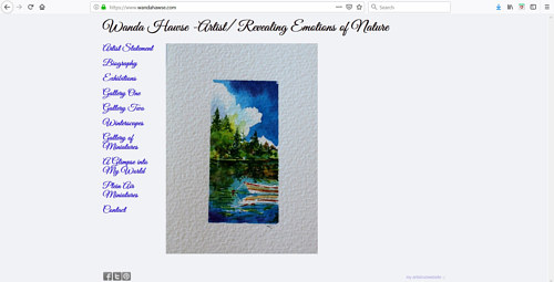 A screen capture of Wanda Hawse's art portfolio website