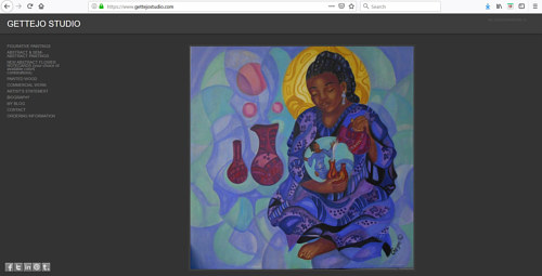 The front page of Gette Jones' art portfolio website