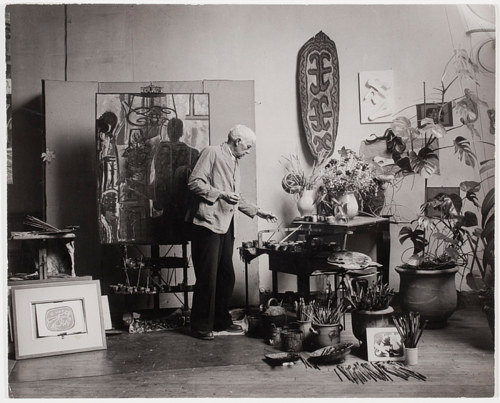 A photo of Georges Braque in his art studio