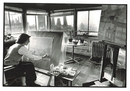 A photo of Jane Freilicher at work in her studio