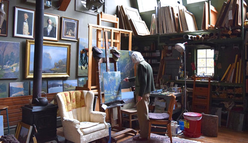 The artist John Phillip Osborne at work in his studio