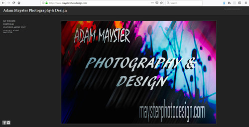 The front page of Adam Mayster's art portfolio website