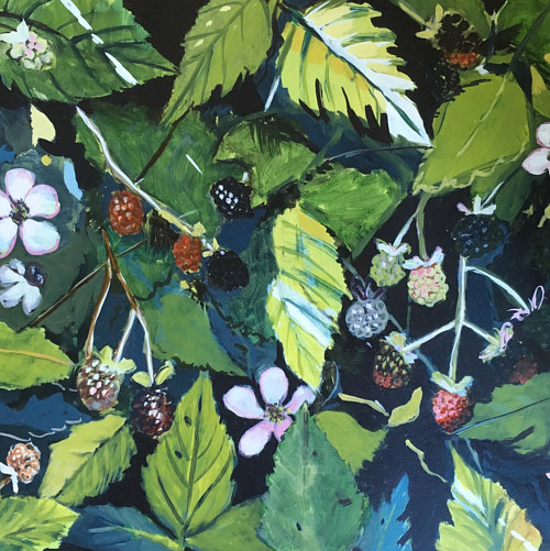 A painting of a dense bunch of blackberries