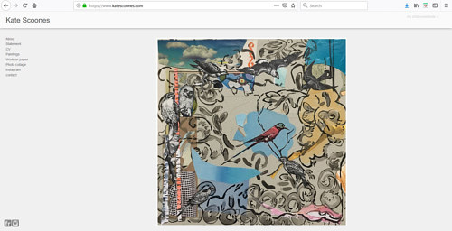 The front page of Kate Scoones' art portfolio website