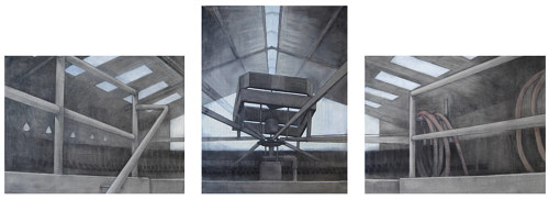 A triptych depicting an apparatus at the top of a large building
