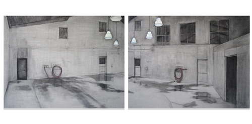 A diptych depicting an empty room where livestock would be housed