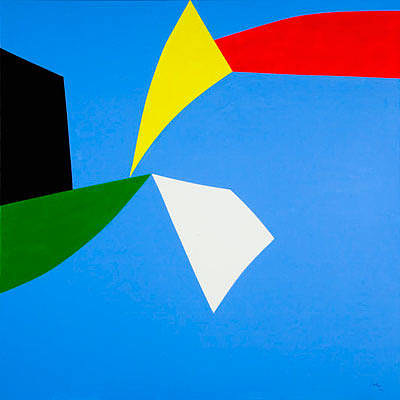 An abstract painting with clean lines and bright primary colours