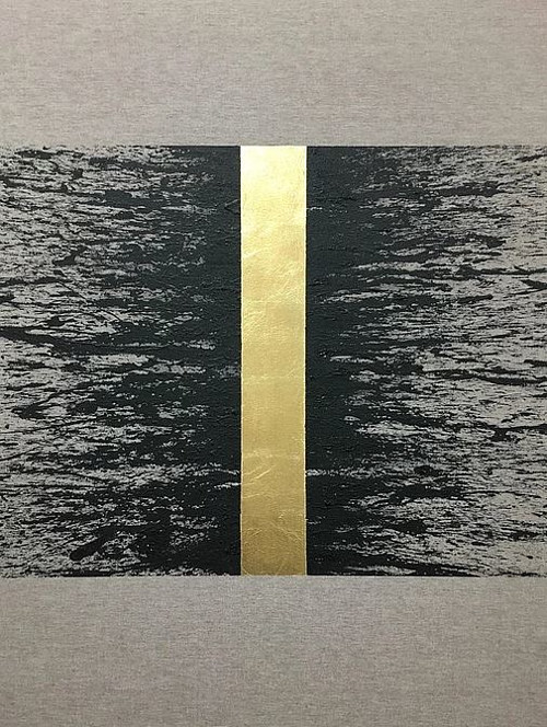 A painting with rough black textures radiating outward from a gold line