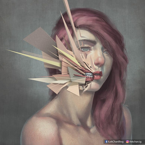 A portrait of a young woman with geometric shapes intersecting the face
