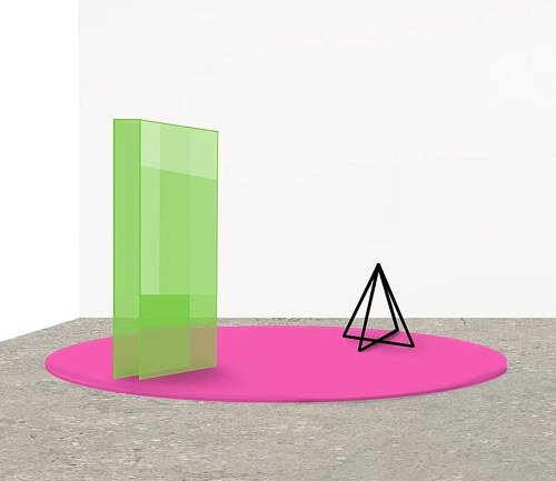 A sculpture made with brightly coloured shapes