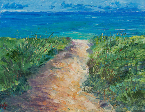 A painting of a path to the ocean