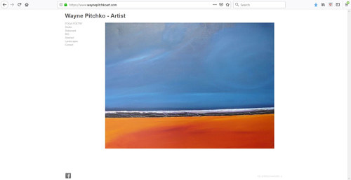 A screen capture of Wayne Pitchko's art portfolio website