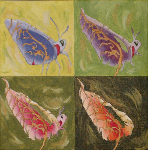 A painting of a butterfly transforming into a leaf