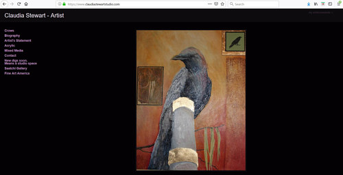 The front page of Claudia Stewart's art portfolio website