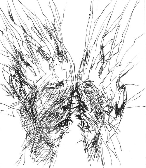 A sketch of two abstract faces looking at each other