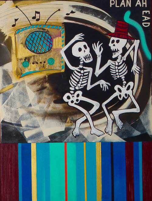 A painting of two dancing skeletons with abstract elements