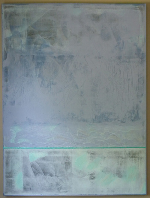 A painting in blue and grey with planes of texture and colour dividing the canvas surface