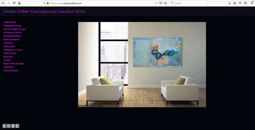 A screen capture of Gordon Sellen's art portfolio website