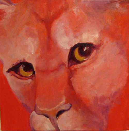 A painting of a mountain lion on a red background
