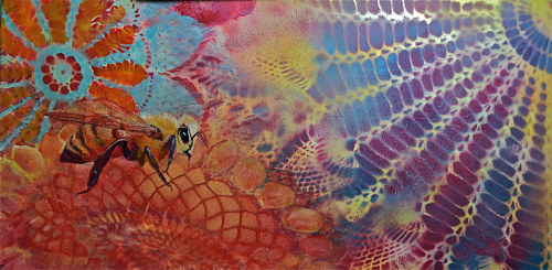 A painting of a bee on a background emulating an insect's vision