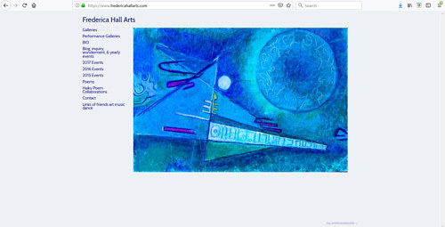 A screen capture of Frederica Hall's art portfolio website