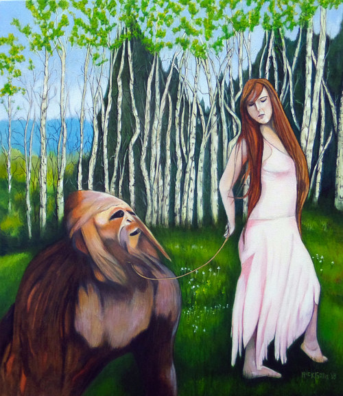 A painting of a woman walking a bigfoot on a leash