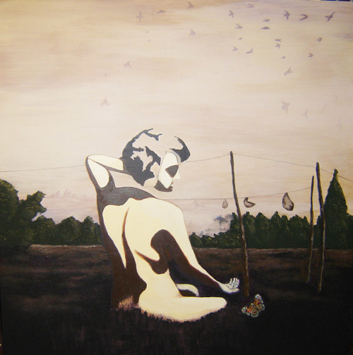 A painting of a female figure in a subdued field