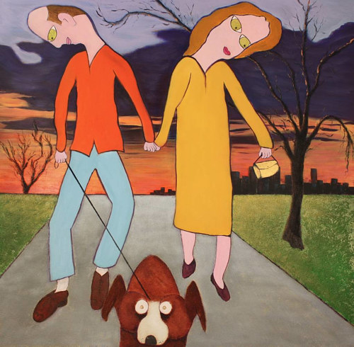 A painting of two figures walking a dog