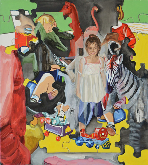 A painting with imagery of toys and childhood objects with a portrait of the artist as a child