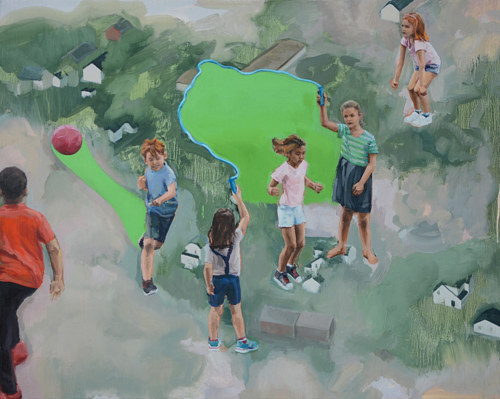 A painting of children skipping rope on an abstracted background
