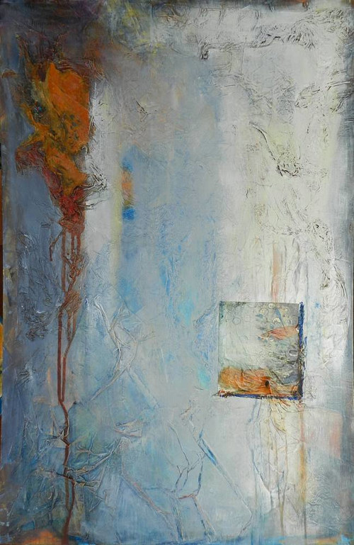 An abstract painting with a raised, textured square