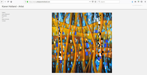 The front page of Karen Holland's art website