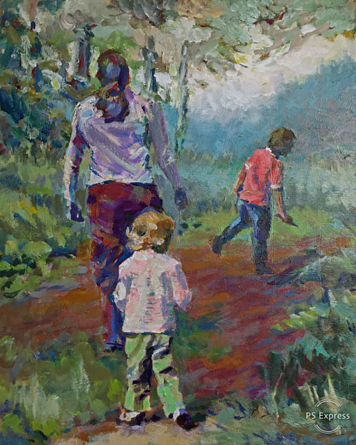 A painting of a young family walking through the woods