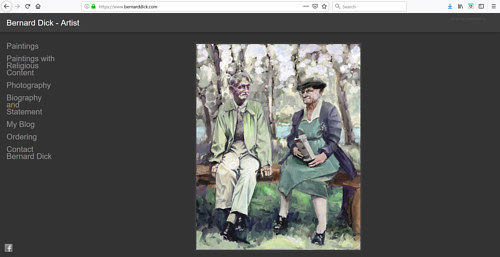 A screen capture of Bernard Dick's art portfolio website