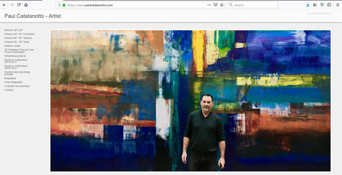 The front page of Paul Catalanotto's art portfolio website