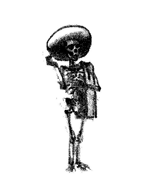 A black and white drawing of a skeleton in a hat
