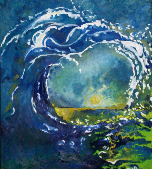 A painting of a rolling wave