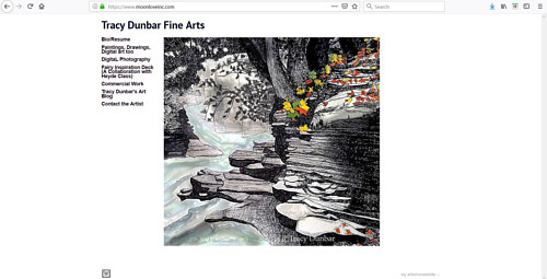A screen capture of Tracy Dunbar's art portfolio website