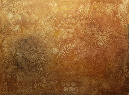 An artwork consisting of a pattern in earthy tones on acrylic paper