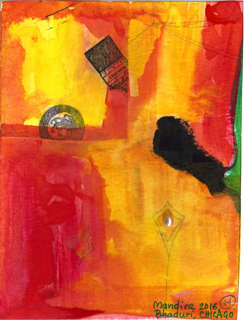 A small painting and collage with fiery red colours