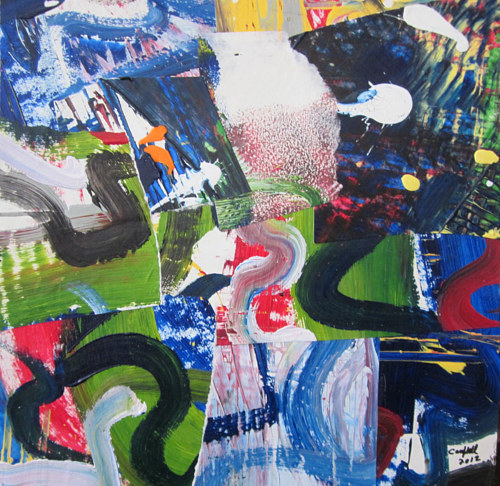 A painting made with collaged elements of other paintings
