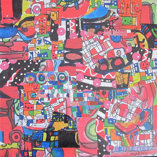 A collaged painting with bright pink colours and detailed patterned elements