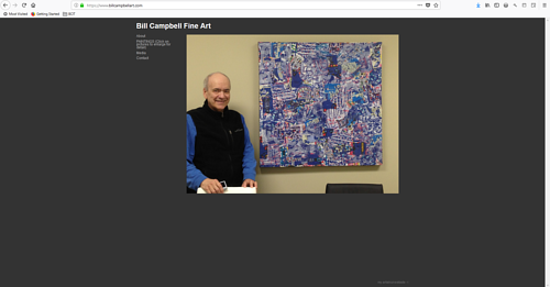 The front page of Bill Campbell's art portfolio website