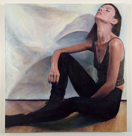 An acrylic painting of a woman weaing black and reclining on a floor