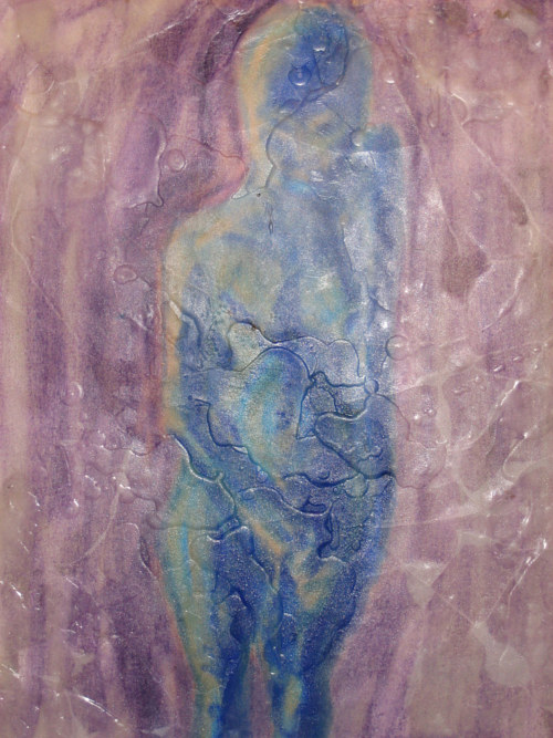 A painting of a vaguely defined figure layered under beeswax
