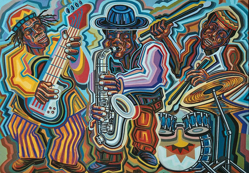 A painting of three jazz musicians in bright colours