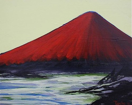 Acrylic painting on canvas of volcano